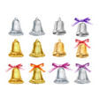 set of gold and silver christmas bells with vector image
