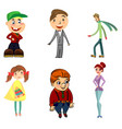 six funny characters vector image vector image