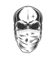skull in the medical mask vector image
