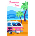 summertime camping with motor home car on beach vector image vector image
