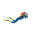 swimming scuba diver flat vector image