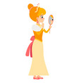 the princess looks in the mirror vector image vector image