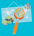 world map car man and magnifying glass flat vector image vector image
