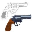 revolver gun outline icon and 3d model vector image