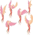 set pink bird vector image
