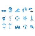 simple beach icon blue series vector image