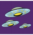 Three UFO flying across the sky vector image