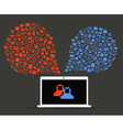 Abstract speech clouds of pixel icons vector image