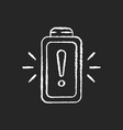battery working process risk chalk white icon vector image vector image