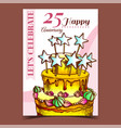 birthday cake decorated with stars poster vector image vector image