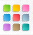 blank colorful rounded square web buttons vector image vector image