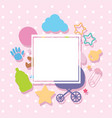 border template with baby items vector image