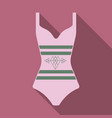 bright striped swimsuit beach female vector image vector image