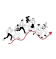 Business people run graph curves red line black vector image