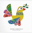 christmas and new year folk art bird greeting card vector image vector image