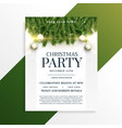christmas holiday party flyer design template vector image