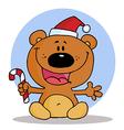 Christmas Teddy Bear Holding A Candy Cane vector image vector image