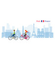 couple cycling with paris france skyline vector image