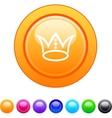 Crown circle button vector image