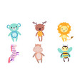 cute toy animals collection bear deer lion vector image vector image