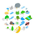 disaster icons set isometric style vector image
