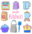 doodle kitchen equipment colorful style vector image vector image