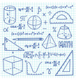 doodle maths and geometry concept trigonometry vector image