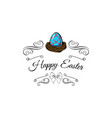 easter blue egg in a nest decorated swirls bow vector image vector image