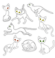 Eight contours of funny cats vector image vector image