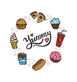 fast food doodle style circle frame vector image