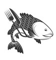 fish fork and knife vector image vector image