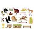 flat set of equestrianism sport objects vector image