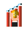 hand holding coin dollar chart business vector image vector image