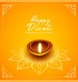 happy diwali festival design with oil lamp diya vector image vector image