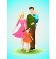 Happy family with two children vector image vector image