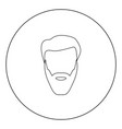 head with beard and hair black icon in circle vector image