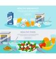 Healthy Food Flat Banner Set vector image vector image