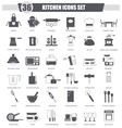 Kitchen black icon set Dark grey classic vector image