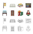 library and bookstore cartoonoutline icons in set vector image