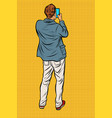 man with smartphone back vector image vector image