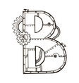 mechanical letter b engraving vector image