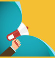 megaphone in human hand marketing and promotions vector image vector image