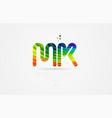 mk m k rainbow colored alphabet letter logo vector image vector image