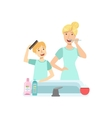Mother And Child Preparing For Bed Together vector image vector image