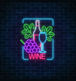 neon glowing sign of wine in rectangle frame vector image vector image
