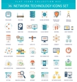 Network technology color flat icon set vector image