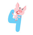 number four with cute cartoon pig isolated on vector image