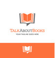 open book shaped talk bubble logo or icon vector image vector image