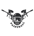 Paintball emblem - mask and two crossed markers vector image vector image