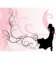 pink background and long dress girl vector image vector image
